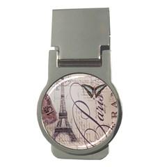 Vintage Scripts Floral Scripts Butterfly Eiffel Tower Vintage Paris Fashion Money Clip (Round)