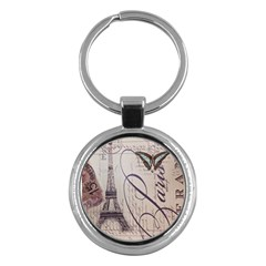 Vintage Scripts Floral Scripts Butterfly Eiffel Tower Vintage Paris Fashion Key Chain (Round)