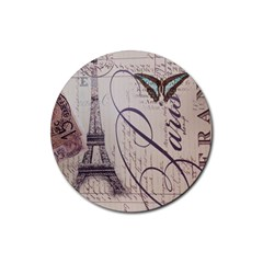 Vintage Scripts Floral Scripts Butterfly Eiffel Tower Vintage Paris Fashion Drink Coasters 4 Pack (Round)