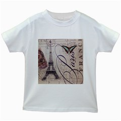 Vintage Scripts Floral Scripts Butterfly Eiffel Tower Vintage Paris Fashion Kids' T-shirt (White)