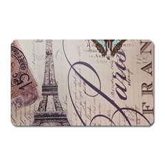 Vintage Scripts Floral Scripts Butterfly Eiffel Tower Vintage Paris Fashion Magnet (Rectangular)