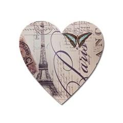 Vintage Scripts Floral Scripts Butterfly Eiffel Tower Vintage Paris Fashion Magnet (Heart)