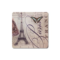 Vintage Scripts Floral Scripts Butterfly Eiffel Tower Vintage Paris Fashion Magnet (Square)