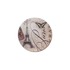 Vintage Scripts Floral Scripts Butterfly Eiffel Tower Vintage Paris Fashion Golf Ball Marker