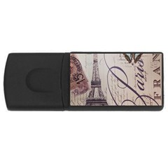 Vintage Scripts Floral Scripts Butterfly Eiffel Tower Vintage Paris Fashion 2GB USB Flash Drive (Rectangle)