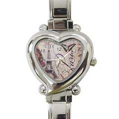 Vintage Scripts Floral Scripts Butterfly Eiffel Tower Vintage Paris Fashion Heart Italian Charm Watch
