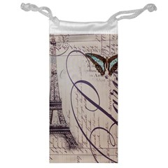 Vintage Scripts Floral Scripts Butterfly Eiffel Tower Vintage Paris Fashion Jewelry Bag