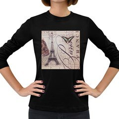 Vintage Scripts Floral Scripts Butterfly Eiffel Tower Vintage Paris Fashion Womens' Long Sleeve T-shirt (Dark Colored)