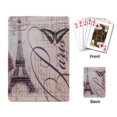 Vintage Scripts Floral Scripts Butterfly Eiffel Tower Vintage Paris Fashion Playing Cards Single Design