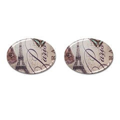 Vintage Scripts Floral Scripts Butterfly Eiffel Tower Vintage Paris Fashion Cufflinks (oval)