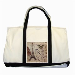 Vintage Scripts Floral Scripts Butterfly Eiffel Tower Vintage Paris Fashion Two Toned Tote Bag