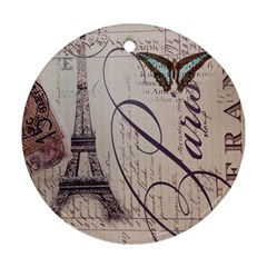 Vintage Scripts Floral Scripts Butterfly Eiffel Tower Vintage Paris Fashion Round Ornament (two Sides)