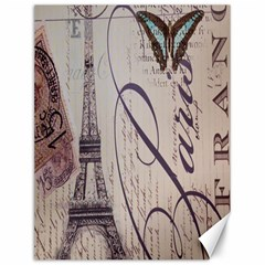 Vintage Scripts Floral Scripts Butterfly Eiffel Tower Vintage Paris Fashion Canvas 12  x 16  (Unframed)
