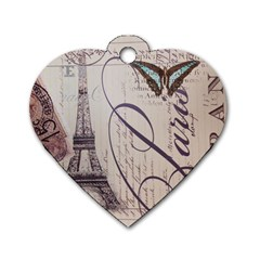 Vintage Scripts Floral Scripts Butterfly Eiffel Tower Vintage Paris Fashion Dog Tag Heart (Two Sided)