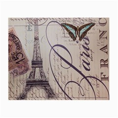Vintage Scripts Floral Scripts Butterfly Eiffel Tower Vintage Paris Fashion Glasses Cloth (Small, Two Sided)