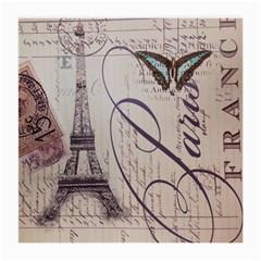 Vintage Scripts Floral Scripts Butterfly Eiffel Tower Vintage Paris Fashion Glasses Cloth (Medium)