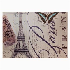 Vintage Scripts Floral Scripts Butterfly Eiffel Tower Vintage Paris Fashion Glasses Cloth (Large, Two Sided)