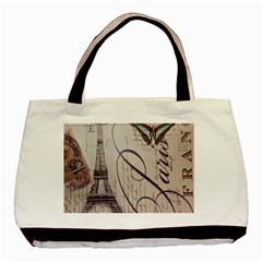 Vintage Scripts Floral Scripts Butterfly Eiffel Tower Vintage Paris Fashion Twin-sided Black Tote Bag