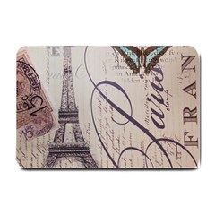Vintage Scripts Floral Scripts Butterfly Eiffel Tower Vintage Paris Fashion Small Door Mat