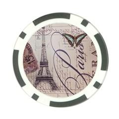Vintage Scripts Floral Scripts Butterfly Eiffel Tower Vintage Paris Fashion Poker Chip