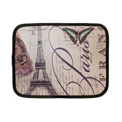 Vintage Scripts Floral Scripts Butterfly Eiffel Tower Vintage Paris Fashion Netbook Case (small)
