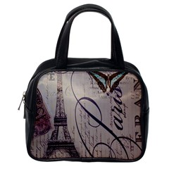 Vintage Scripts Floral Scripts Butterfly Eiffel Tower Vintage Paris Fashion Classic Handbag (One Side)