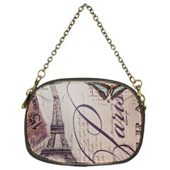 Vintage Scripts Floral Scripts Butterfly Eiffel Tower Vintage Paris Fashion Chain Purse (Two Sided)