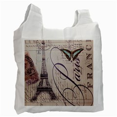 Vintage Scripts Floral Scripts Butterfly Eiffel Tower Vintage Paris Fashion Recycle Bag (one Side)