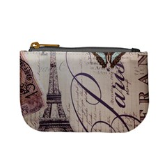Vintage Scripts Floral Scripts Butterfly Eiffel Tower Vintage Paris Fashion Coin Change Purse