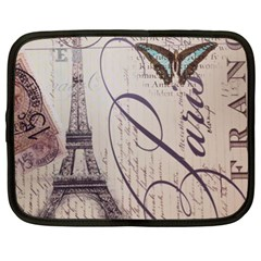 Vintage Scripts Floral Scripts Butterfly Eiffel Tower Vintage Paris Fashion Netbook Case (XL)