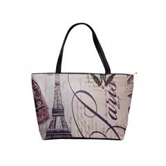 Vintage Scripts Floral Scripts Butterfly Eiffel Tower Vintage Paris Fashion Large Shoulder Bag