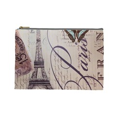 Vintage Scripts Floral Scripts Butterfly Eiffel Tower Vintage Paris Fashion Cosmetic Bag (Large)