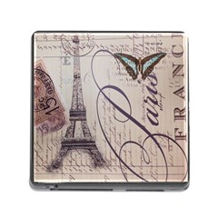 Vintage Scripts Floral Scripts Butterfly Eiffel Tower Vintage Paris Fashion Memory Card Reader with Storage (Square)