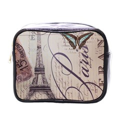 Vintage Scripts Floral Scripts Butterfly Eiffel Tower Vintage Paris Fashion Mini Travel Toiletry Bag (One Side)