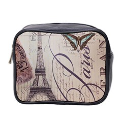 Vintage Scripts Floral Scripts Butterfly Eiffel Tower Vintage Paris Fashion Mini Travel Toiletry Bag (two Sides)