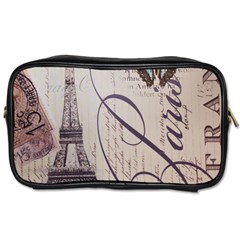 Vintage Scripts Floral Scripts Butterfly Eiffel Tower Vintage Paris Fashion Travel Toiletry Bag (two Sides)
