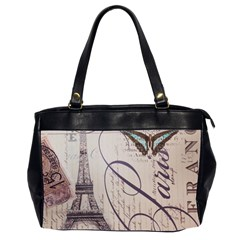 Vintage Scripts Floral Scripts Butterfly Eiffel Tower Vintage Paris Fashion Oversize Office Handbag (two Sides)