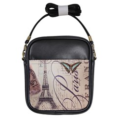Vintage Scripts Floral Scripts Butterfly Eiffel Tower Vintage Paris Fashion Girl s Sling Bag