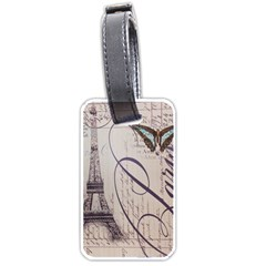 Vintage Scripts Floral Scripts Butterfly Eiffel Tower Vintage Paris Fashion Luggage Tag (two Sides)