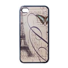 Vintage Scripts Floral Scripts Butterfly Eiffel Tower Vintage Paris Fashion Apple iPhone 4 Case (Black)