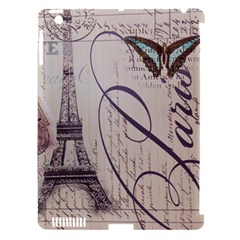 Vintage Scripts Floral Scripts Butterfly Eiffel Tower Vintage Paris Fashion Apple iPad 3/4 Hardshell Case (Compatible with Smart Cover)