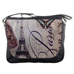 Vintage Scripts Floral Scripts Butterfly Eiffel Tower Vintage Paris Fashion Messenger Bag