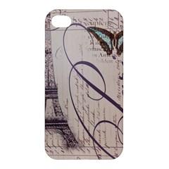 Vintage Scripts Floral Scripts Butterfly Eiffel Tower Vintage Paris Fashion Apple iPhone 4/4S Premium Hardshell Case