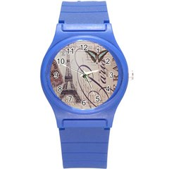 Vintage Scripts Floral Scripts Butterfly Eiffel Tower Vintage Paris Fashion Plastic Sport Watch (Small)
