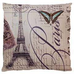 Vintage Scripts Floral Scripts Butterfly Eiffel Tower Vintage Paris Fashion Large Cushion Case (two Sided)
