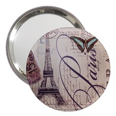 Vintage Scripts Floral Scripts Butterfly Eiffel Tower Vintage Paris Fashion 3  Handbag Mirror