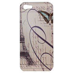 Vintage Scripts Floral Scripts Butterfly Eiffel Tower Vintage Paris Fashion Apple Iphone 5 Hardshell Case