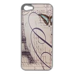 Vintage Scripts Floral Scripts Butterfly Eiffel Tower Vintage Paris Fashion Apple Iphone 5 Case (silver)