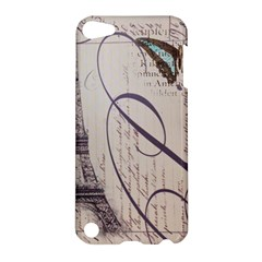 Vintage Scripts Floral Scripts Butterfly Eiffel Tower Vintage Paris Fashion Apple iPod Touch 5 Hardshell Case
