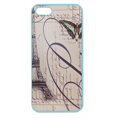 Vintage Scripts Floral Scripts Butterfly Eiffel Tower Vintage Paris Fashion Apple Seamless iPhone 5 Case (Color)
